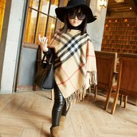 retail shawls - retail Spring autumn Fall Fashion girls Plaid tassel Shawl Top Quality Kids Poncho Childrens Cap Hot Sell