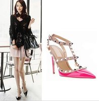 studded shoes - Fashion Women High heels shoes Ladies Sexy Pointed Toe High Heels Fashion Buckle Studded Stiletto High Heel Sandals Shoes pumps