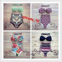 bath bra - 100 TOPB4780 color hot women high waist bikinis neoprene Triangle Push Up Bikini printed Bath Suit swimwear Bohemia swimsuits Bandage bras