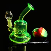 Wholesale Colored mini pipe glass bong Water pipe Bongs Recycler Filter Percolators Smoking nails jiont MM Height cm