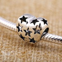 authentic antique - 2016 New DIY Antique Hollow Star Heart Charms Original Authentic Sterling Silver Beads fit for European bracelets Necklaces