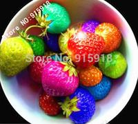 decorative fruit - Fruit seeds Rainbow strawberry seeds fruit Multi color