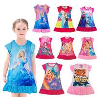 Wholesale Children s clothes dress girls dresses sleepwear frozen Cartoon dress Short sleeve dresses Printed nightdress Multicolor