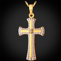 MGC Jesus Crucifixion Cross Pendentif Collier 18K Real Gold / Platinum Plated Fashion Jewelry religieux pour femmes / hommes P1406