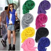 Wholesale Fashion Women s Long Crinkle Scarf Wraps Soft Shawl Stole Pure Color Colors Hot sales