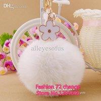 Trousseaux gros fleur Avis-Gros-gratuit Bijoux expédition de mode en gros de fleurs voiture Keychain Sac à pendentif fourrure de lapin porte-ball Porte Girlfriends cadeau