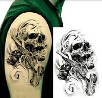 art skulls - Single Gun Skull Tattoo D Waterproof Temporary Tattoo Stickers Body Art Tattoo Fake Arm tatuajes tatuagem temporaria