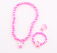 Wholesale Fashion Cute Children Hello Kitty Necklace Jewelry Set Girl Kids Baby Necklace Bracelet Ring KT Cat Set FEAL ZST32