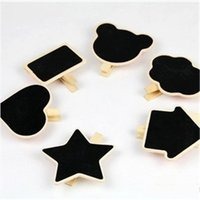 Wholesale Mini Decor Wooden Chalkboard Designs Shapes Classic Black And White Clip On Blackboard For Creative Wedding Party