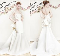 austin wedding dress - Austin Scarlett White Stain Mermaid Wedding Dresses Sexy Backless Back Draped Chapel Train Bridal Gowns Custom Made China EN8187