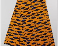 batik textiles fabric - Hot yellow and blue fish African design textile cotton Nigeria hollandais Wax fabric material printed batik for sewing clothing