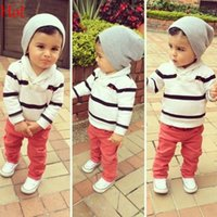 knit wear - Baby Boys Girls Clothing Set Striped Hooed Sweatshirt Sweatpant Trousert Sets Cotton Suits Baby Knitted Outfits Sprots Wear SV024950