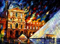 art louvre - Modern art louvre museum Leonid Afremov Painting Canvas High quality Hand painted