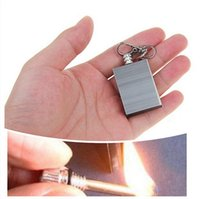 Wholesale Stainless steel Flints Waterproof Outdoor Camping Metal Permanent Match Striker Lighter with Key Chain Survival Matches Silver