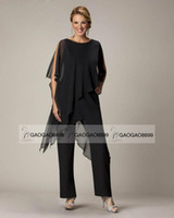 mother of the bride - Black Elegant Chiffon Mother s Pant Suit Custom Make Plus Size Comfortable Full length Mother Of The Bride Suit