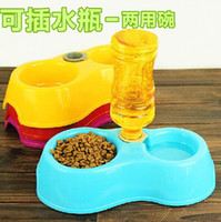 Cheap 29.5CM*15CM*8CM Pet Supplies 2015 Pet Dog portable bowl Feeding Water Feeder Travel Bowl Amphibious pluggable bottle pet tableware dog bowl