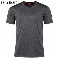 Wholesale Outdoor Sport Shirt Men Trekking Quick Dry Breathable Hiking Shirt Summer Style Tee Climbing Training Camping Shirt MenHMD0118