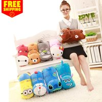 air conditioning bearing - Cartoon bear plush toy Warm hand pillow air conditioning blanket baby blankets Christmas Day Gift