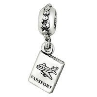 925 sterling silver charms - Passport Pendant Charm Sterling Silver European Charms Bead Fit Pandora Snake Chain Bracelet Fashion DIY Jewelry
