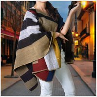 Wholesale New Wool Cashmere Blanket Style Cape Shawl Sweater Autumn and Winter Women Contrast Color Wool blend Poncho cloak atomizer