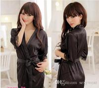 Wholesale sexy Women Sexy Satin Lingerie Chiffon Sleepwear Nightdress Robes Lace G string GownSexy Lingerie Satin Sleepwear Silk