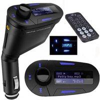 Nuevo Kit Car MP3 reproductor inalámbrico FM del modulador del transmisor wma inalámbrico USB SD MMC LCD con control remoto / luz roja Azul