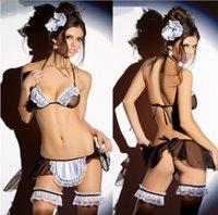 lingerie - 2015 New Fashion Sexy Racy Lace Underwear Maid Uniforms Temptation lenceria sexy lingerie set