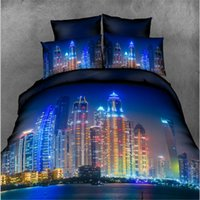 Wholesale New Cheap D Printing Bedding Set Night City High rise Buildings Blue Duvet Cover Set pieces Bed Flat Sheet with Pillowcases Drop Ship