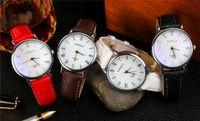 belt buckle buffalo - Set of Pieces Simple waterproof quartz watch fashion leisure disc buffalo grain leather belt watches