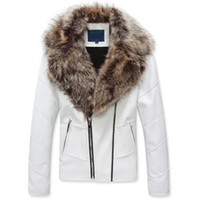 Wholesale Hot sale brand new Mens Cotton Lined Fur Collar PU Leather Thicken Jackets Motorcycle Short Coats
