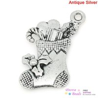 antique candy tins - Charm Pendants Christmas Candy Cane Stocking Antique Silver x16mm K03719