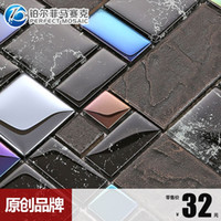Wholesale Amalfi noble platinum stainless steel plating ceramic mosaic tile puzzle backdrop wall stickers hot models popular