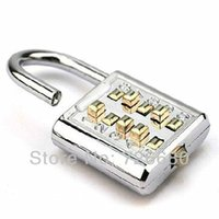 Wholesale New Arrival Digit Push Gig Button Combination Number Luggage Travel Code Lock Padlock Silver