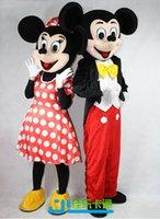 Al por mayor - En stock 2pcs Pareja Mickey Minne ratón traje de la mascota de la historieta carácter mascotas de la escuela trajes masculinos para chicos nave rápida