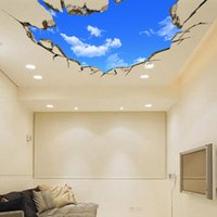 PVC bedroom ceiling decorations - Extra Large D Stereo Blue Sky White Cloud Wall Art Mural Decor Ceiling Decoration Sticker Sofa Background Living Room Decor Wall Applique