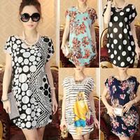 Wholesale Korean Silk Short Dress - 2015 spring and summer new Women Korean loose big yards short sleeve dresses long section ice silk print dress women's clothing