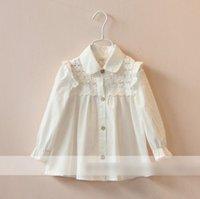 silk clothes - Hot New Original Fashionable Cute Kids Shirts Lotus Leaf Bud Silk Cotton Collar Long Sleeves Children s Shirts Tops Clothes White J4319
