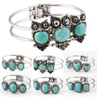 achat en gros de vintage bleu turquoise bracelet-Usine Mode de vente directe de bijoux Mix Styles de bracelets de bracelets Vintage pour bracelets bijoux femmes charme des femmes de mariage 6pcs / lot