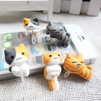 Wholesale Mobile Phone Earphone Plug mm Cheese Cat Plug Cute Cartoon Design Anti Dust Earphone Plug for iPhone