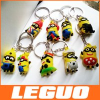 key ring - 2015 Best Promotion Gifts D Despicable Me2 Minions Action Figure Keychain Keyring Key Ring Design Cute DHL C
