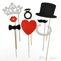 Wholesale 8Pcs DIY Photo Booth Props Mustache Lip Ring Heart Crown Stick Lovely Party Wedding Accessories T5U