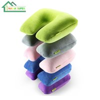 Wholesale Folding Air Blow Up Cushion Inflatable U Shape Pillow Soft Velvet PP Liner Cover Washable For Office Outdoor Flight Rest Pillow