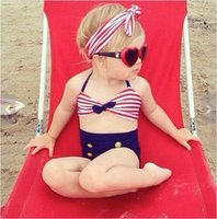 Wholesale Prettybaby Sexy cute sailor Kids Swimwear child bikini with hair band girl swimsuit with head band set