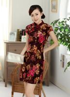 Wholesale Velvet cheongsam dress Womens traditional Cheongsam Dress Qipao Oriental dress national trend dress TD0046
