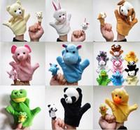 Wholesale 2PCS Cute Big Size Animal Glove Puppet Hand Dolls Plush Toy Bear Panda Elephant Duck Rabbit Hippo Mouse Cow Frog Dog