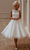 Wholesale Hot New Custom A Line Scoop Sleeveless Vintage Tea Length Tulle Short Wedding Dresses Bridal Gowns