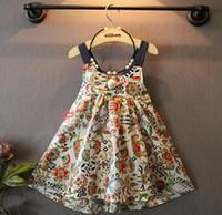 Wholesale 2016 Summer Girls Floral Dress Kids Brace Suspender Skirt Child Beach Dress Children Princess Dresses