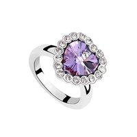 Wholesale Pretty k rose silver inlaid Austrian crystal heart shaped zircon ladies fashion bride s wedding ring gemstone rings