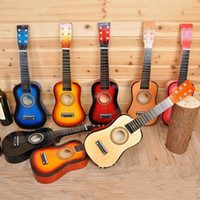 Wholesale Wooden Guitar inch Multi color Children s Wooden Guitar Toys Beginners Practice Acoustic Guitar Music Early Childhood Toys