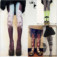women silk socks - 2015 new color summer women female pielpie cat tattoo thin silk stockings pants socks leg warmers tights leggings Hosiery TOPB2597